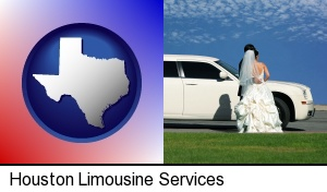 Houston, Texas - a white wedding limousine