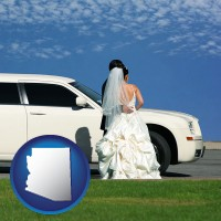 arizona map icon and a white wedding limousine