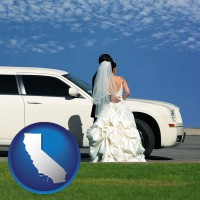 california map icon and a white wedding limousine