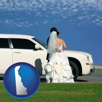 delaware map icon and a white wedding limousine