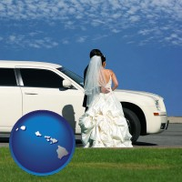 hawaii map icon and a white wedding limousine