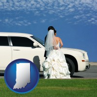 indiana map icon and a white wedding limousine