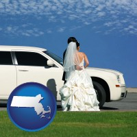 massachusetts map icon and a white wedding limousine