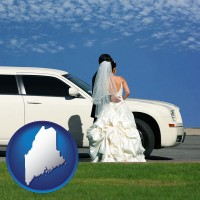 maine map icon and a white wedding limousine