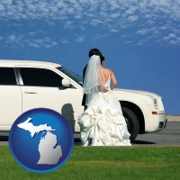 michigan map icon and a white wedding limousine