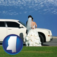 mississippi map icon and a white wedding limousine