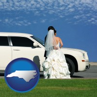 north-carolina map icon and a white wedding limousine