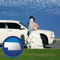 nebraska map icon and a white wedding limousine