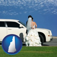 new-hampshire map icon and a white wedding limousine