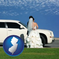 new-jersey map icon and a white wedding limousine