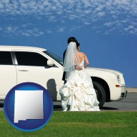 new-mexico map icon and a white wedding limousine
