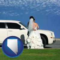 nevada map icon and a white wedding limousine