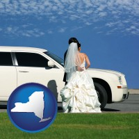 new-york map icon and a white wedding limousine
