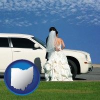 ohio map icon and a white wedding limousine