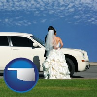 oklahoma map icon and a white wedding limousine