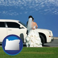 oregon map icon and a white wedding limousine