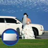 pennsylvania map icon and a white wedding limousine