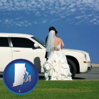 rhode-island map icon and a white wedding limousine