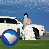south-carolina a white wedding limousine