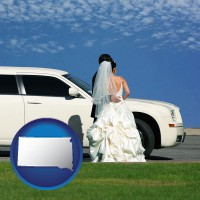 south-dakota map icon and a white wedding limousine