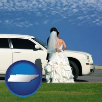 tennessee map icon and a white wedding limousine