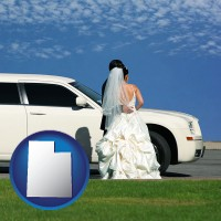 utah map icon and a white wedding limousine
