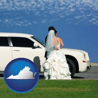 virginia map icon and a white wedding limousine