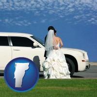 vermont map icon and a white wedding limousine