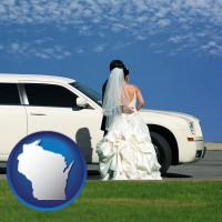 wisconsin map icon and a white wedding limousine
