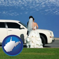 west-virginia map icon and a white wedding limousine