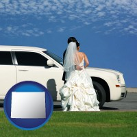 wyoming map icon and a white wedding limousine