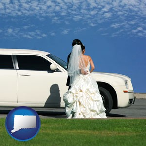 a white wedding limousine - with Connecticut icon