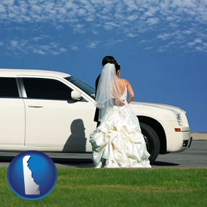 a white wedding limousine - with Delaware icon
