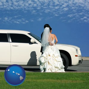 a white wedding limousine - with Hawaii icon