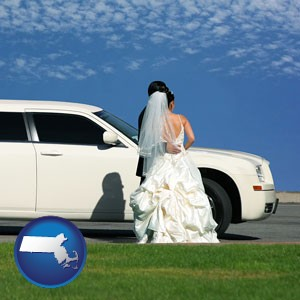 a white wedding limousine - with Massachusetts icon