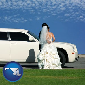 a white wedding limousine - with Maryland icon