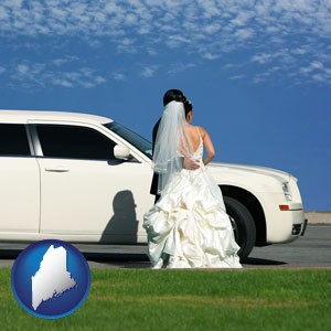a white wedding limousine - with Maine icon