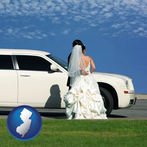 a white wedding limousine - with New Jersey icon