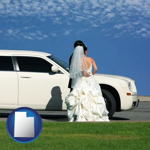 a white wedding limousine - with Utah icon