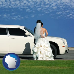 a white wedding limousine - with Wisconsin icon